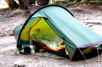 Hilleberg Akto tent.  Absolutely awesome.  The generous vestibule was great for fixing breakfast in bed.
